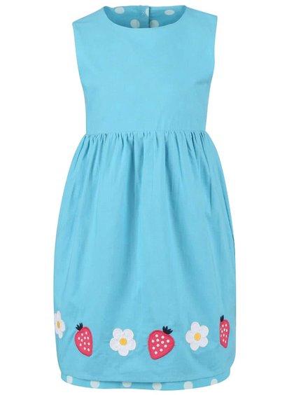 Tyrkysové dívčí oboustranné šaty s jahůdkami Frugi Lamorna