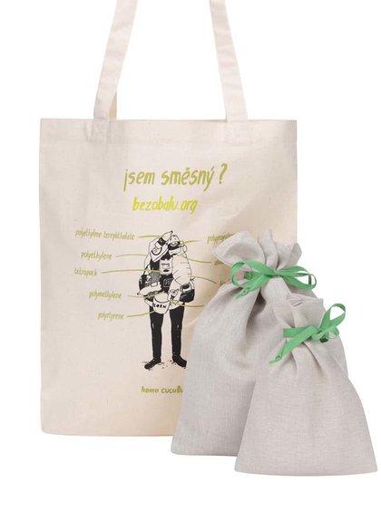 """""""Dobrá"""" plátenná taška s vrecúškami Jsem směšný pro Bezobalu"""