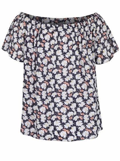 Modré tričko s květy Dorothy Perkins Petite