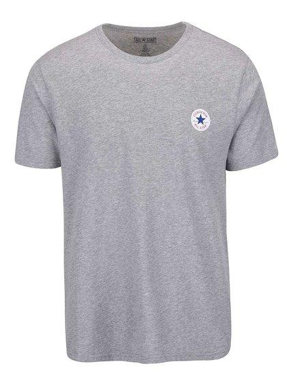 Šedé pánské triko s malým logem Converse