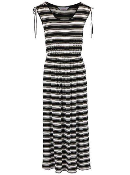 Bielo-čierne šaty so zelenými pruhmi Dorothy Perkins Petite