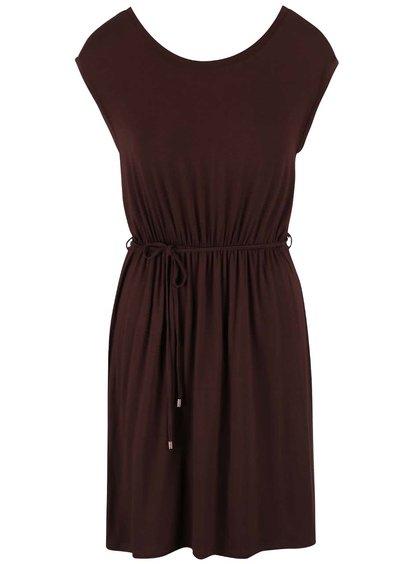 Hnedé šaty so šnúrkou v páse Dorothy Perkins Petite