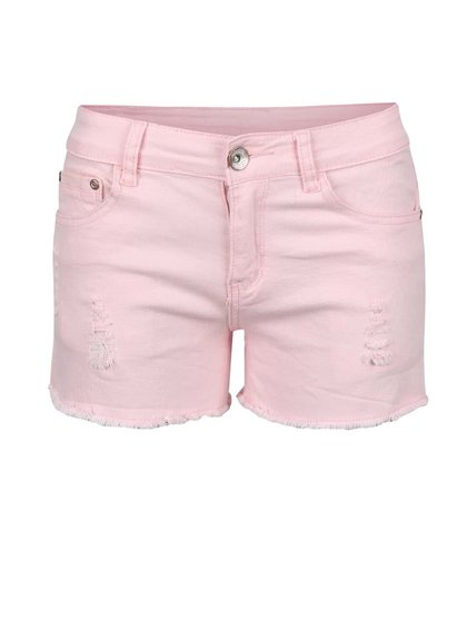 Růžové krátké šortky s roztrhaným efektem Madonna