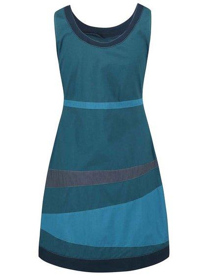 Petrolejové šaty s farebnými pruhmi Tranquillo Guarana