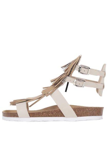 Světle béžové dámské sandály s třásněmi OJJU