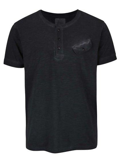 Čierne melírované tričko s gombíkmi Shine Original Rider