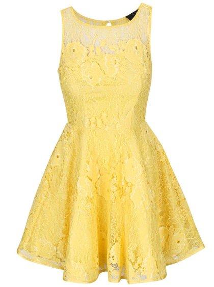 Rochie AX Paris galbenă din dantelă
