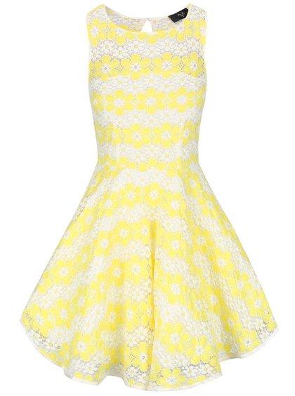 Žlté čipkované šaty s kvetmi AX Paris