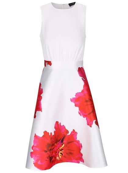 Bílé šaty s velkými červenými květy AX Paris