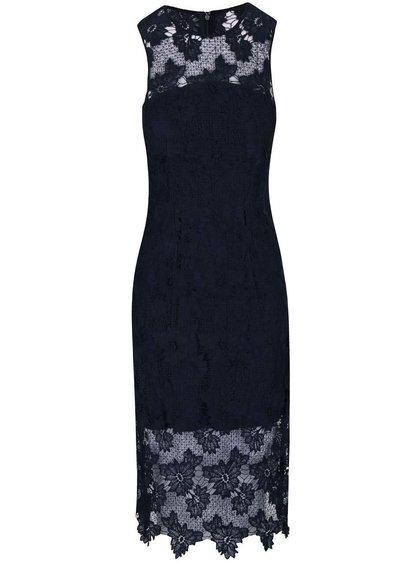 Tmavě modré krajkované midi šaty AX Paris