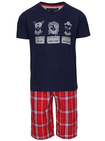 Set pantaloni scurți și tricou North Pole Kids albastru cu roșu