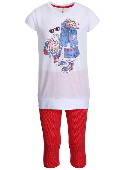 Set holčičích červených legín a bílého trička North Pole Kids