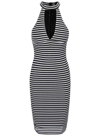 Čierno-biele perforované pruhované šaty AX Paris