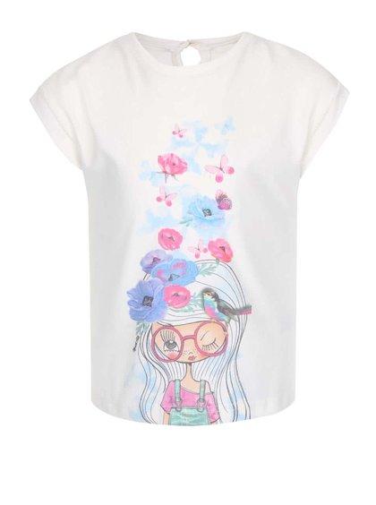 Krémové holčičí oversize tričko s potiskem North Pole Kids