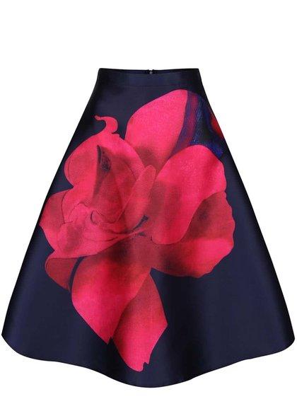 Tmavomodrá sukňa s ružovým kvetom AX Paris