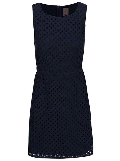 Tmavě modré perforované šaty ICHI Arly