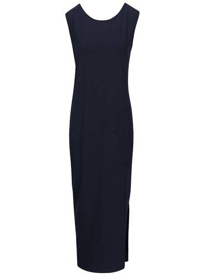 Tmavě modré dlouhé šaty s kulatým výstřihem ICHI Lalulu