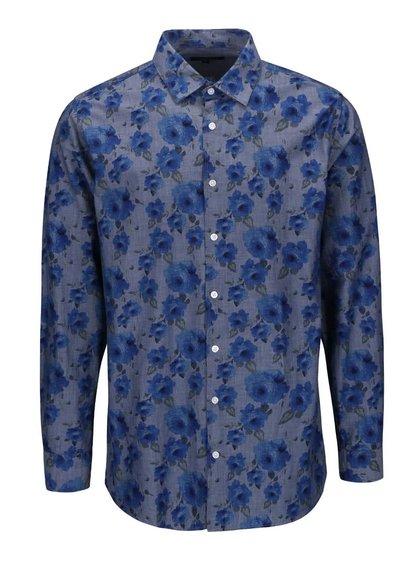 Modrá košile s květinovým vzorem a dlouhým rukávem Lindbergh Dress Fit
