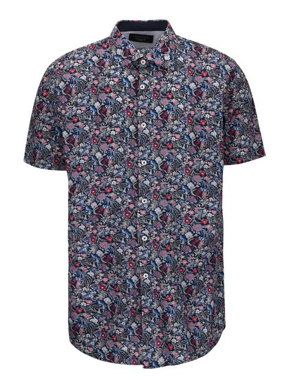 Tmavě modrá košile s květinovým vzorem Lindbergh Dress Fit