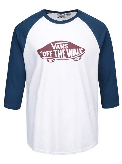 Modro-biele pánske tričko s 3/4 rukávmi a potlačou Vans Raglan