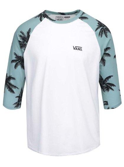Zeleno-bílé pánské triko s 3/4 rukávy a potiskem palem Vans Raglan