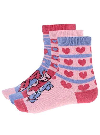 Sada tří holčičích ponožek v růžové a modré barvě Oddsocks Pets