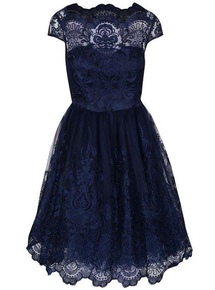 Tmavě modré krajkované šaty Chi Chi London April