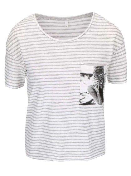 Krémové tričko so sivými pruhmi ONLY Daze