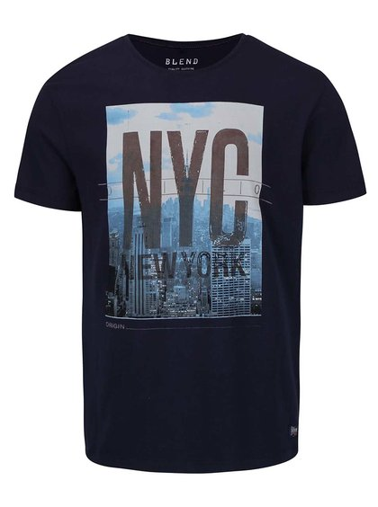 Tricou cu print NYC Blend albastru închis