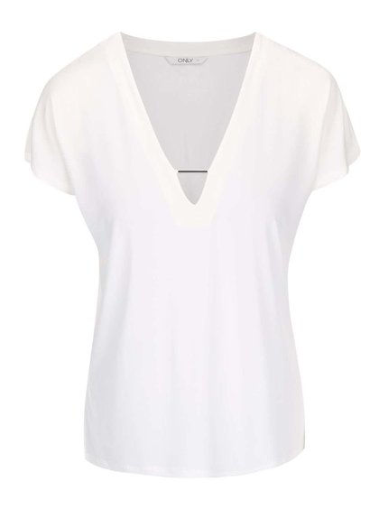 Krémové tričko s ozdobným výstrihom ONLY Zig