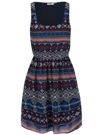 Tmavomodré vzorované šaty ONLY Nango
