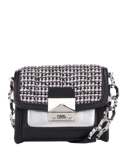 Růžovo-černá kožená mini crossbody kabelka KARL LAGERFELD