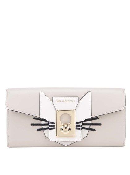Sivobéžová kožená peňaženka s aplikáciou mačky KARL LAGERFELD