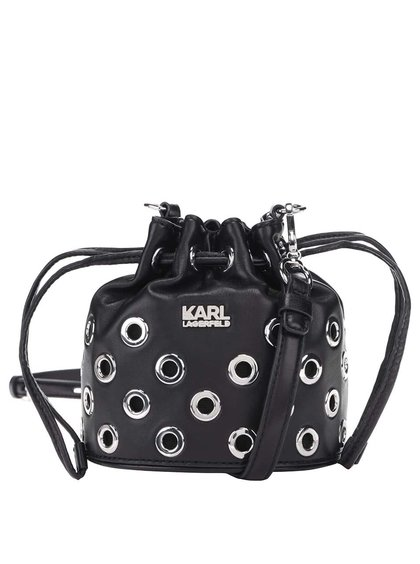 Černá kožená stahovací crossbody kabelka KARL LAGERFELD
