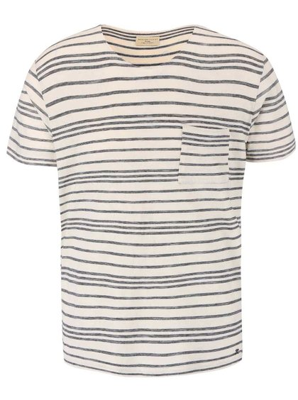 Tricou cu dungi Selected Homme Jaden crem-negru
