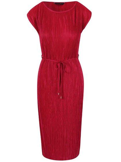 Tmavoružové plisované šaty s opaskom Dorothy Perkins