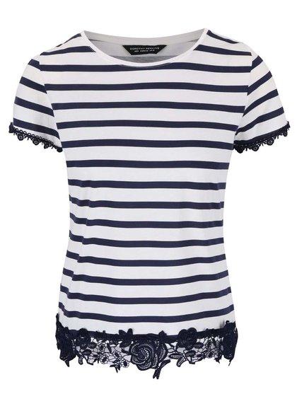 Modro-krémové pruhované tričko s čipkovanými lemami Dorothy Perkins