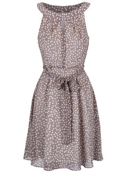 Sivohnedé bodkované šaty so zaväzovaním v páse Dorothy Perkins Petite