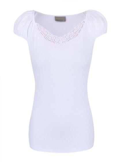 Biele tričko s čipkovaným výstrihom Vero Moda Inge
