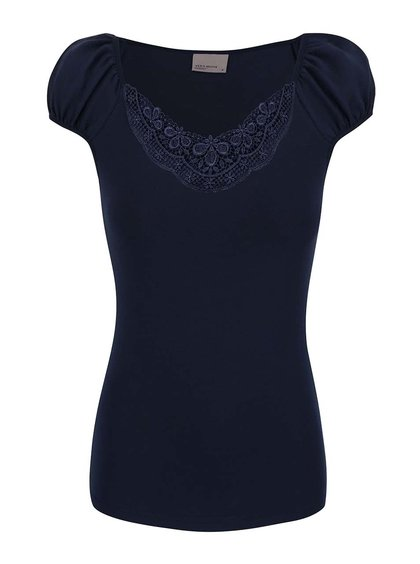 Tmavě modré tričko s krajkovaným výstřihem Vero Moda Inge