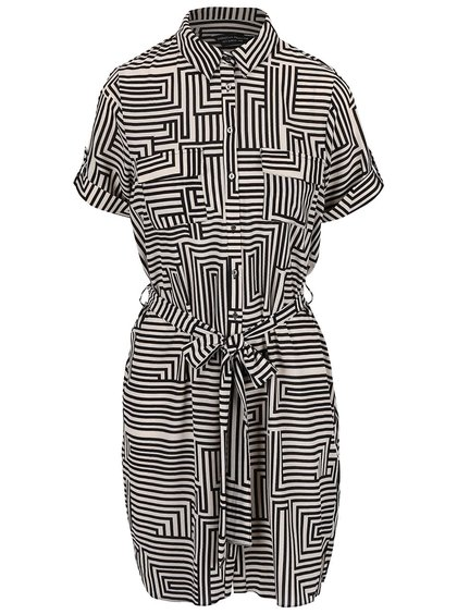 Krémovo-černé vzorované šaty košilového typu Dorothy Perkins