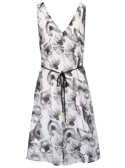 Šedo-krémové květované šaty s páskem Vero Moda Flower Cherry