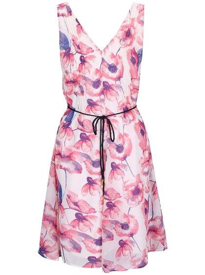 Růžovo-krémové květované šaty s páskem VERO MODA Flower Cherry