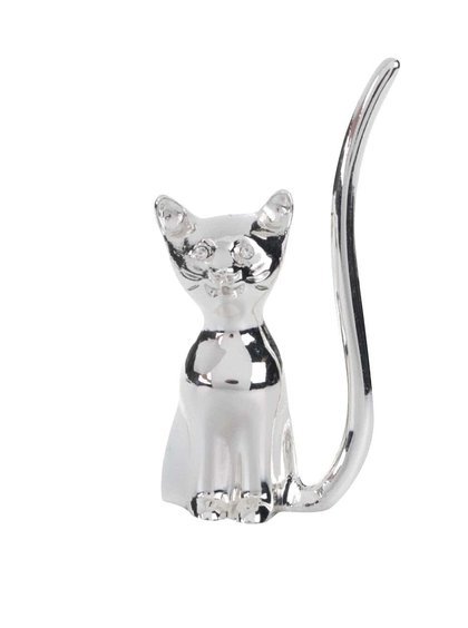 Držák na prstýnky stříbrné barvy ve tvaru kočky CGB
