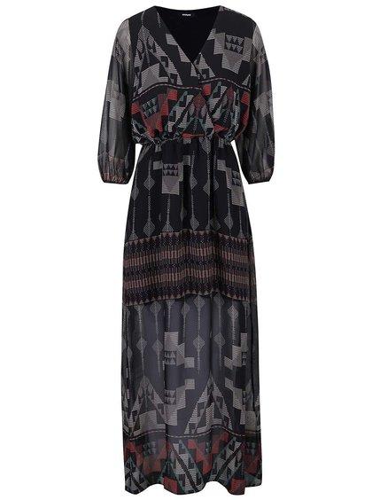 Černé dlouhé šaty se vzorem Alchymi Malachite