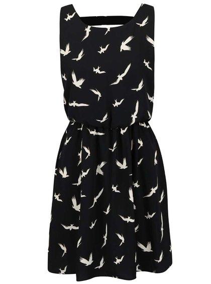 Čierne šaty s potlačou vtáčikov Alchymi Axinite