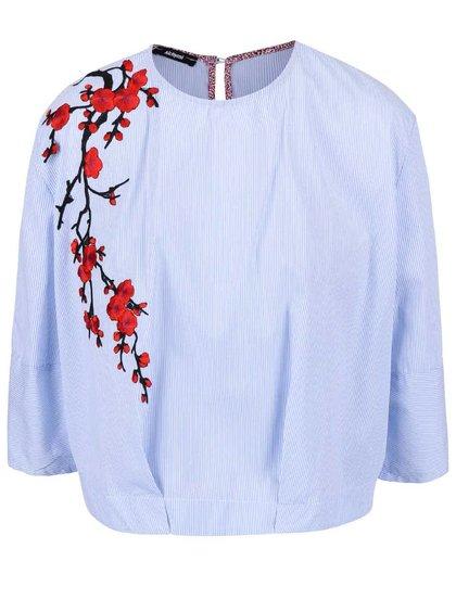 Bluză Alchymi Preslia cu dungi albastre și imprimeu