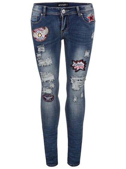 Modré džíny se záplatami a potrhaným efektem Haily´s Paula