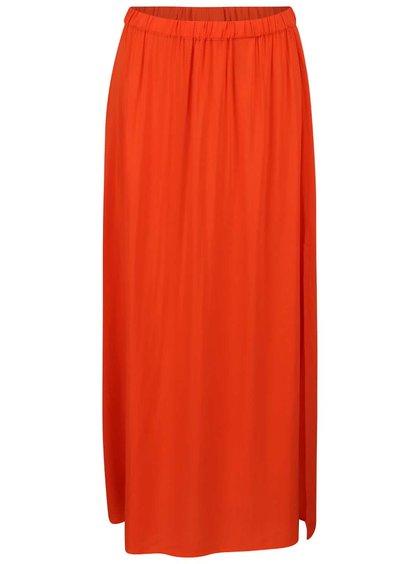 Oranžová maxi sukňa s rozparkom Vero Moda Super Easy