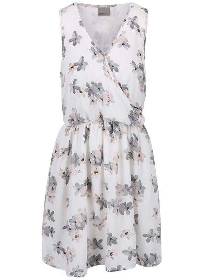 Krémovo-sivé kvetované šaty VERO MODA Dolly